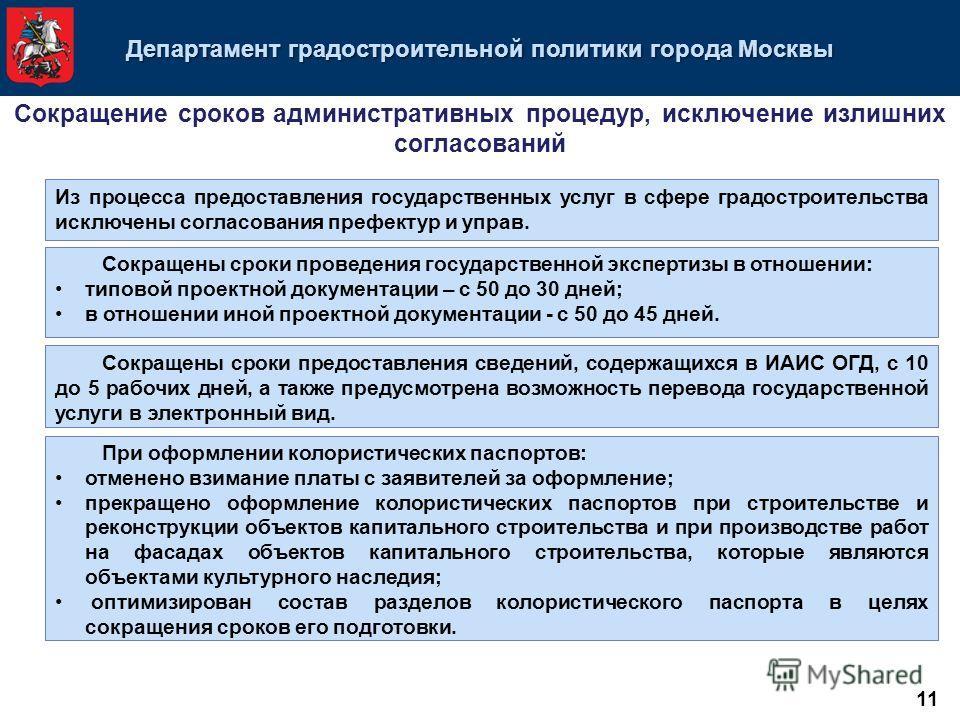 Департамент градостроительной политики города Москвы Из процесса предоставления государственных услуг в сфере градостроительства исключены согласования префектур и управ. Сокращены сроки проведения государственной экспертизы в отношении: типовой прое