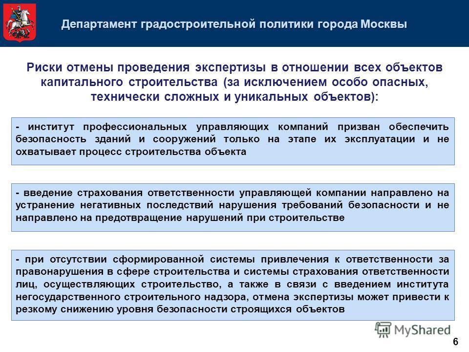 Департамент градостроительной политики города Москвы Риски отмены проведения экспертизы в отношении всех объектов капитального строительства (за исключением особо опасных, технически сложных и уникальных объектов): - институт профессиональных управля