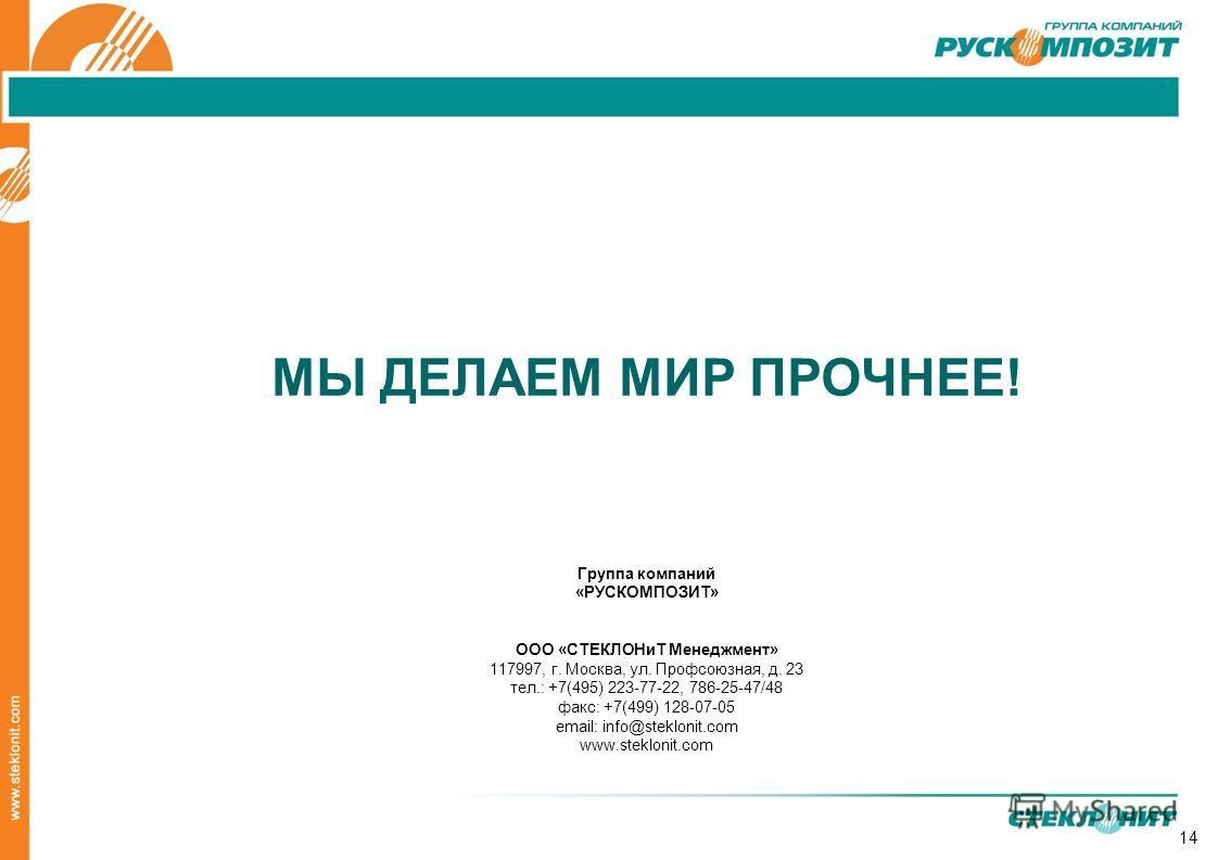 14 МЫ ДЕЛАЕМ МИР ПРОЧНЕЕ! Группа компаний «РУСКОМПОЗИТ» ООО «СТЕКЛОНиТ Менеджмент» 117997, г. Москва, ул. Профсоюзная, д. 23 тел.: +7(495) 223-77-22, 786-25-47/48 факс: +7(499) 128-07-05 email: info@steklonit.com www.steklonit.com