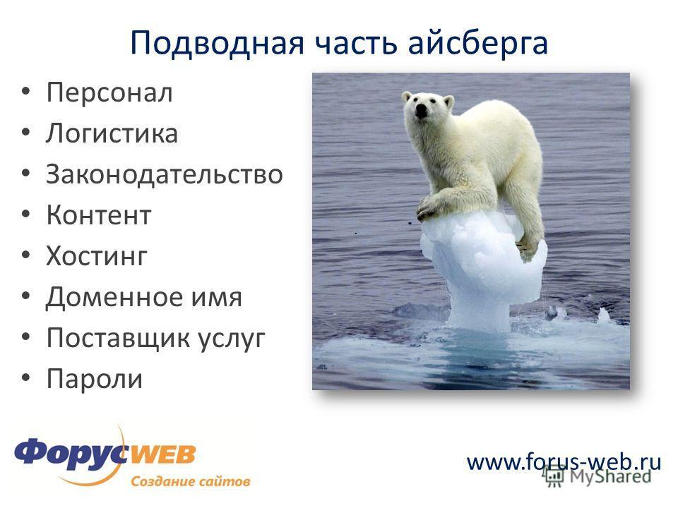 www.forus-web.ru Подводная часть айсберга Персонал Логистика Законодательство Контент Хостинг Доменное имя Поставщик услуг Пароли