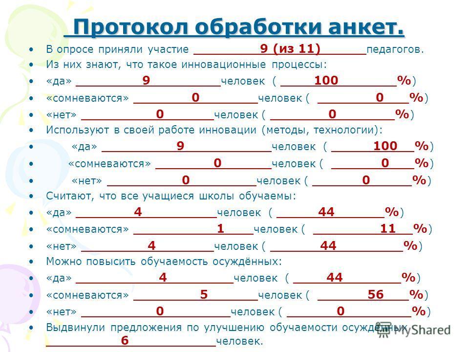 Протокол обработки анкет. Протокол обработки анкет. В опросе приняли участие ________9 (из 11)_____ педагогов. Из них знают, что такое инновационные процессы: «да» ________9________ человек ( ____100_______% ) «сомневаются» _______0_______ человек (