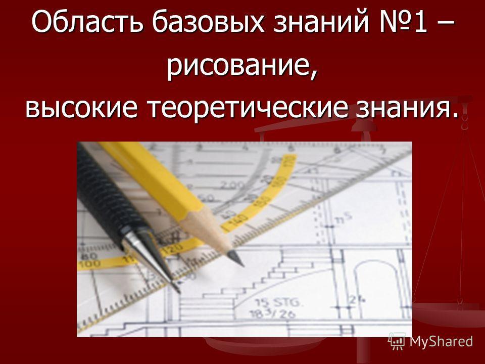 Область базовых знаний 1 – рисование, высокие теоретические знания.