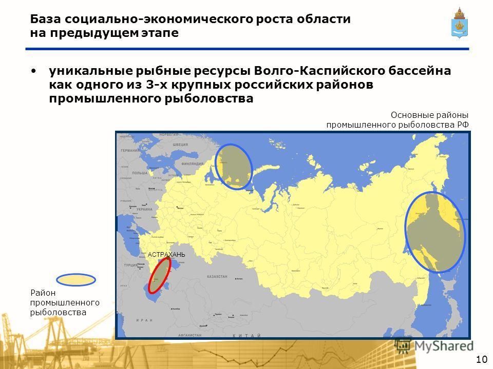 АСТРАХАНЬ Основные районы промышленного рыболовства РФ Район промышленного рыболовства уникальные рыбные ресурсы Волго-Каспийского бассейна как одного из 3-х крупных российских районов промышленного рыболовства 10