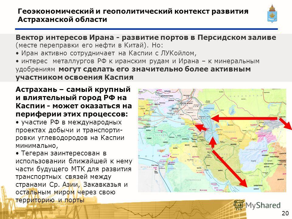 Геоэкономический и геополитический контекст развития Астраханской области Вектор интересов Ирана - развитие портов в Персидском заливе (месте переправки его нефти в Китай). Но: Иран активно сотрудничает на Каспии с ЛУКойлом, интерес металлургов РФ к