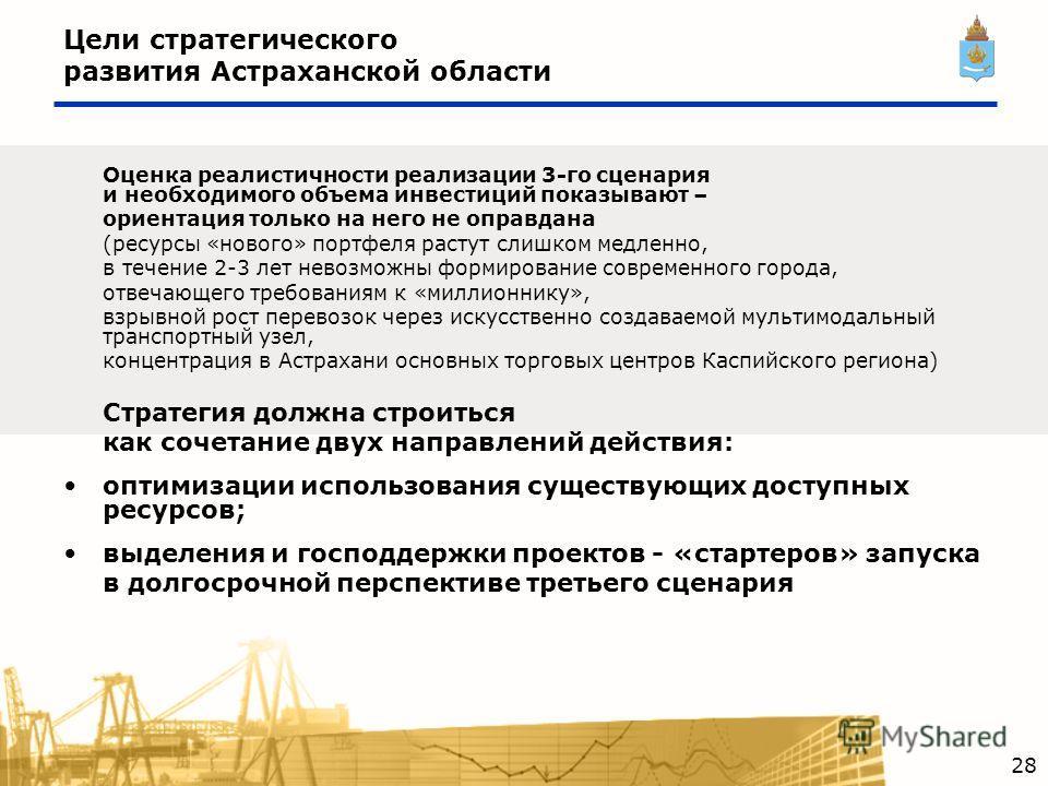 Цели стратегического развития Астраханской области Оценка реалистичности реализации 3-го сценария и необходимого объема инвестиций показывают – ориентация только на него не оправдана (ресурсы «нового» портфеля растут слишком медленно, в течение 2-3 л