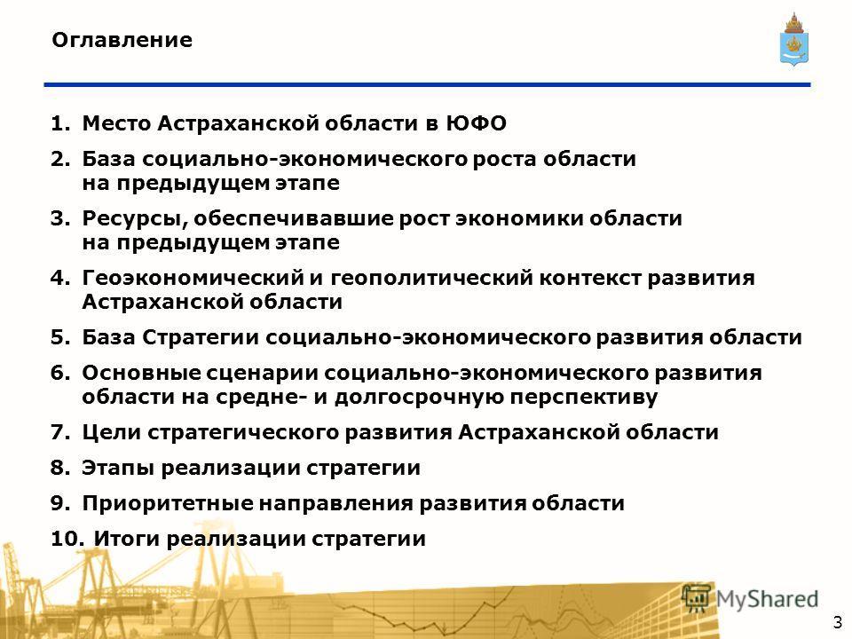 Оглавление 1.Место Астраханской области в ЮФО 2.База социально-экономического роста области на предыдущем этапе 3.Ресурсы, обеспечивавшие рост экономики области на предыдущем этапе 4.Геоэкономический и геополитический контекст развития Астраханской о