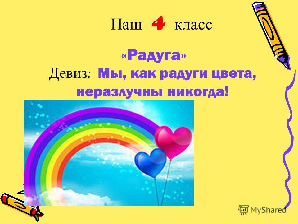 Наш 4 класс «Радуга» Девиз : Мы, как радуги цвета, неразлучны никогда!
