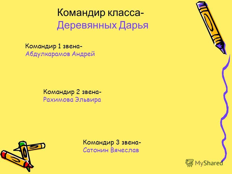 Командир класса- Деревянных Дарья Командир 1 звена- Абдулкарамов Андрей Командир 2 звена- Рахимова Эльвира Командир 3 звена- Сатонин Вячеслав