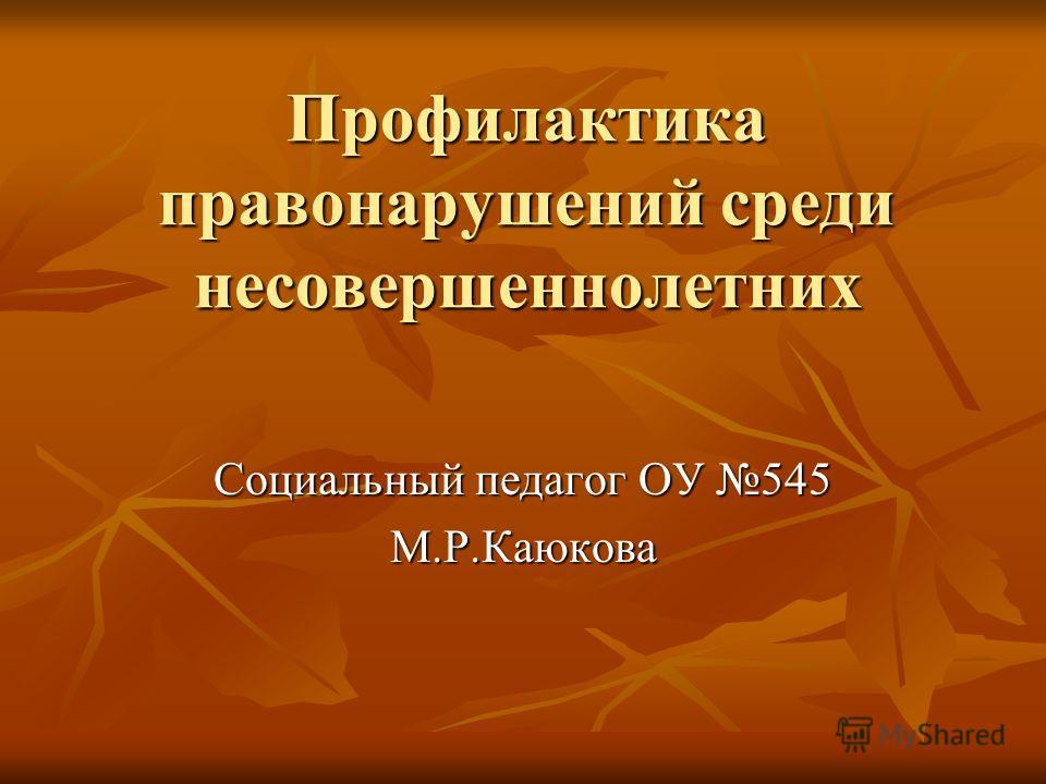 Профилактика правонарушений среди несовершеннолетних Социальный педагог ОУ 545 М.Р.Каюкова