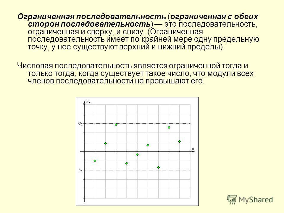 Ограниченная последовательность (ограниченная с обеих сторон последовательность) это последовательность, ограниченная и сверху, и снизу. (Ограниченная последовательность имеет по крайней мере одну предельную точку, у нее существуют верхний и нижний п