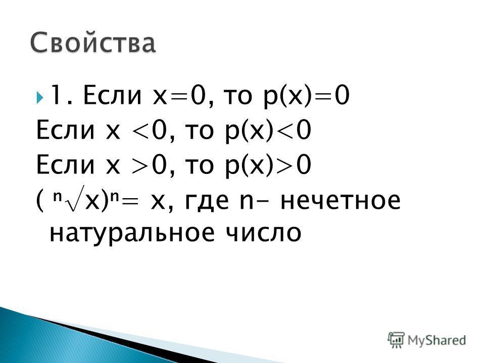 1. Если х=0, то р(х)=0 Если х 0 ( х)= х, где n- нечетное натуральное число