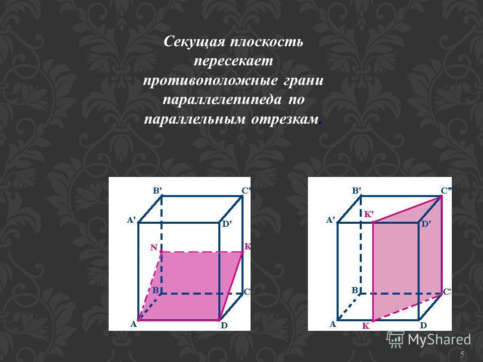 Секущая плоскость пересекает противоположные грани параллелепипеда по параллельным отрезкам. 5
