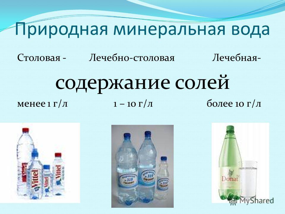 Природная минеральная вода Столовая - Лечебно-столовая Лечебная- содержание солей менее 1 г/л 1 – 10 г/л более 10 г/л