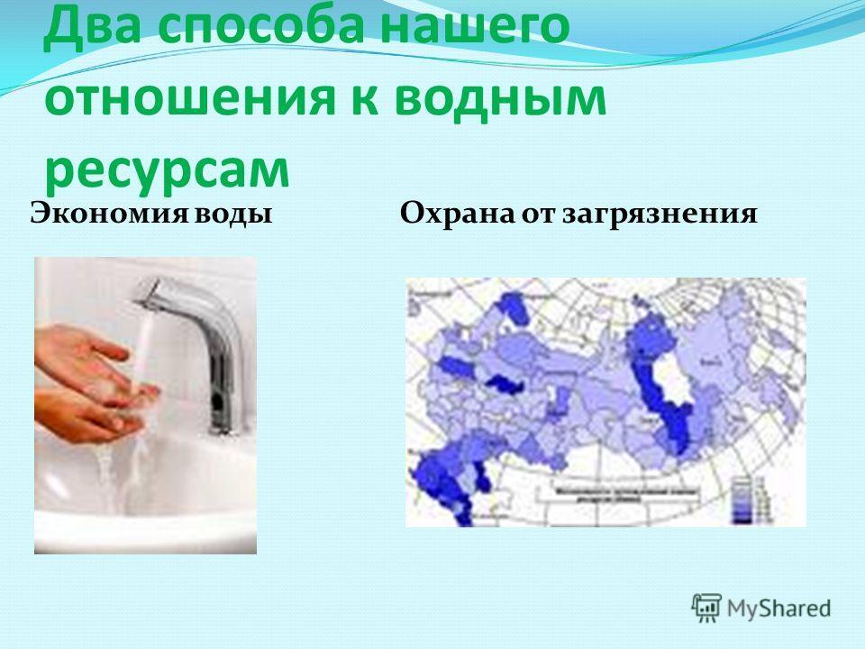 Два способа нашего отношения к водным ресурсам Экономия воды Охрана от загрязнения