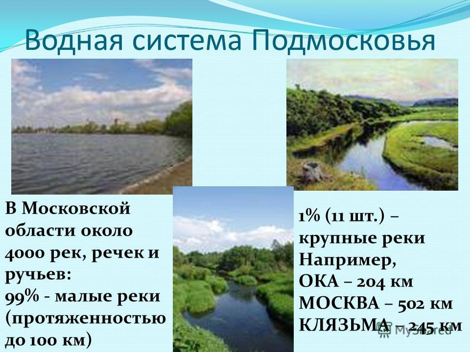 Водная система Подмосковья В Московской области около 4000 рек, речек и ручьев: 99% - малые реки (протяженностью до 100 км) 1% (11 шт.) – крупные реки Например, ОКА – 204 км МОСКВА – 502 км КЛЯЗЬМА – 245 км