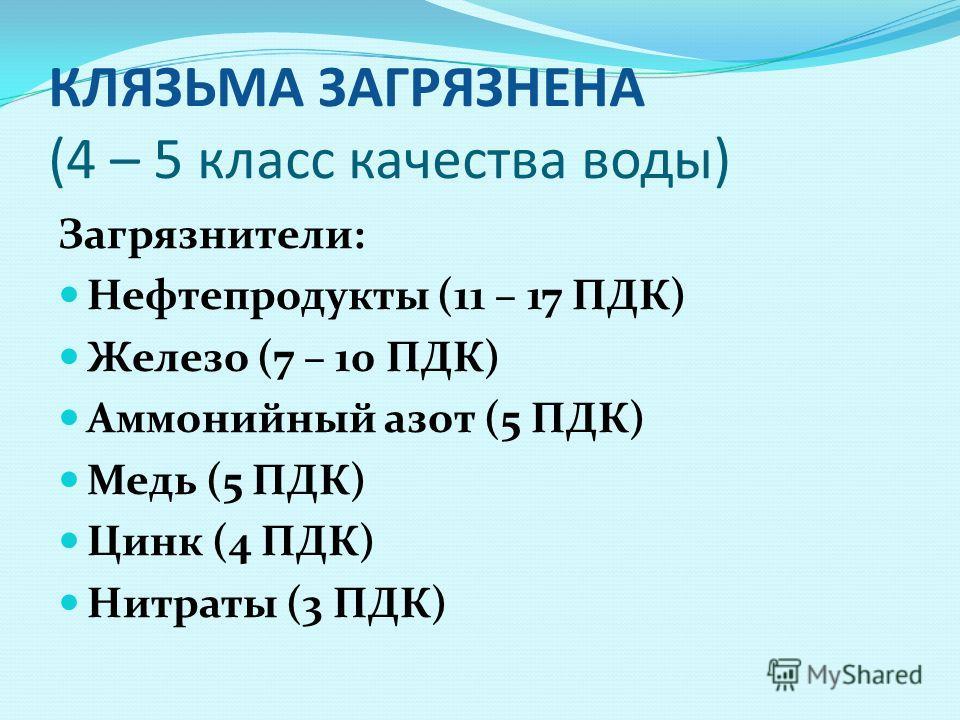 КЛЯЗЬМА ЗАГРЯЗНЕНА (4 – 5 класс качества воды) Загрязнители: Нефтепродукты (11 – 17 ПДК) Железо (7 – 10 ПДК) Аммонийный азот (5 ПДК) Медь (5 ПДК) Цинк (4 ПДК) Нитраты (3 ПДК)