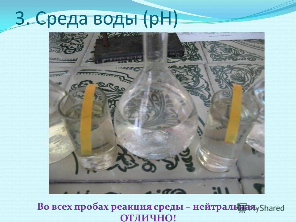 3. Среда воды (рН) Во всех пробах реакция среды – нейтральная. ОТЛИЧНО!
