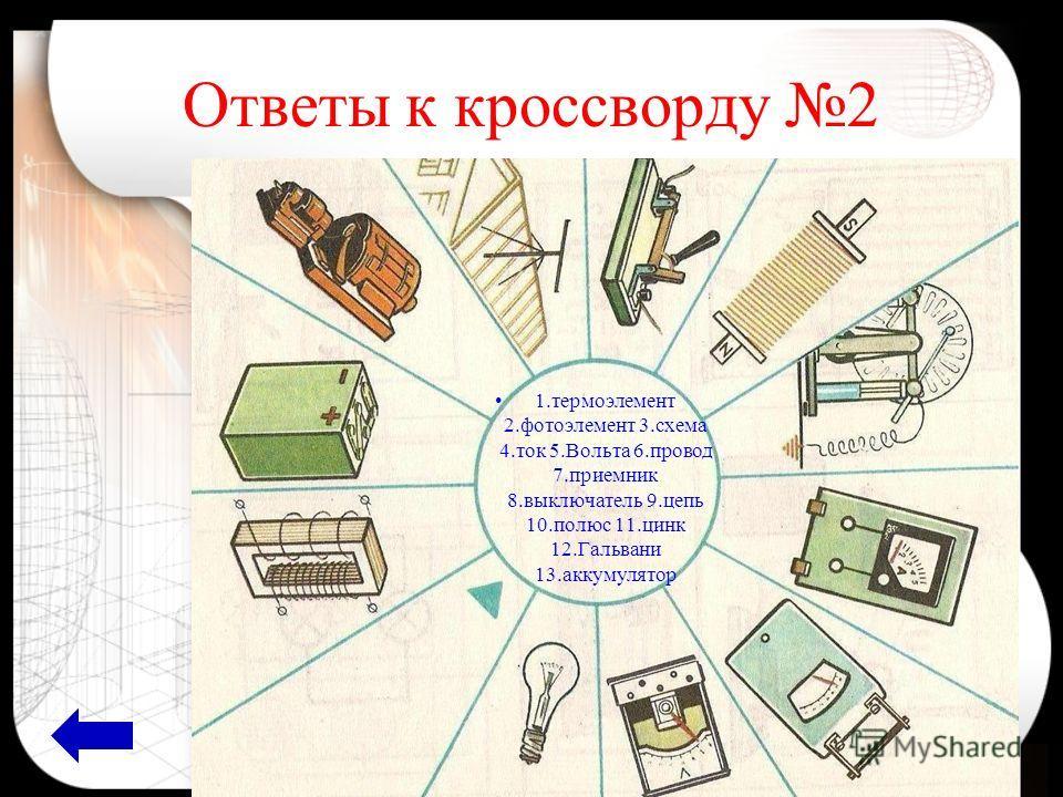 Ответы к кроссворду 2 1.термоэлемент 2.фотоэлемент 3.схема 4.ток 5.Вольта 6.провод 7.приемник 8.выключатель 9.цепь 10.полюс 11.цинк 12.Гальвани 13.аккумулятор