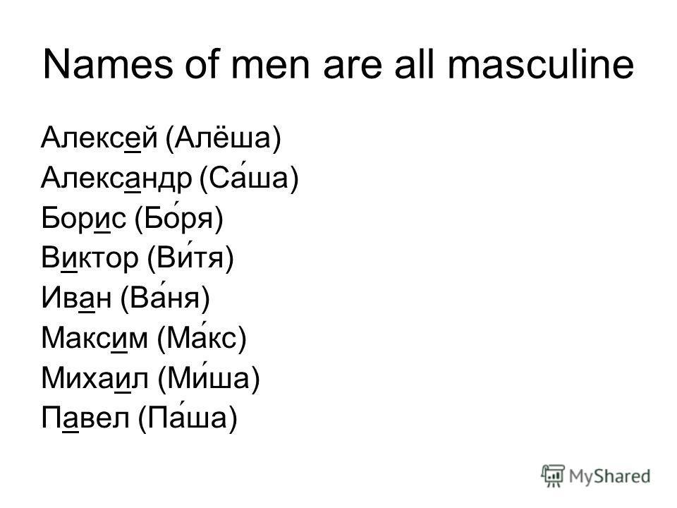 Names of men are all masculine Алексей (Алёша) Александр (Саша) Борис (Боря) Виктор (Витя) Иван (Ваня) Максим (Макс) Михаил (Миша) Павел (Паша)