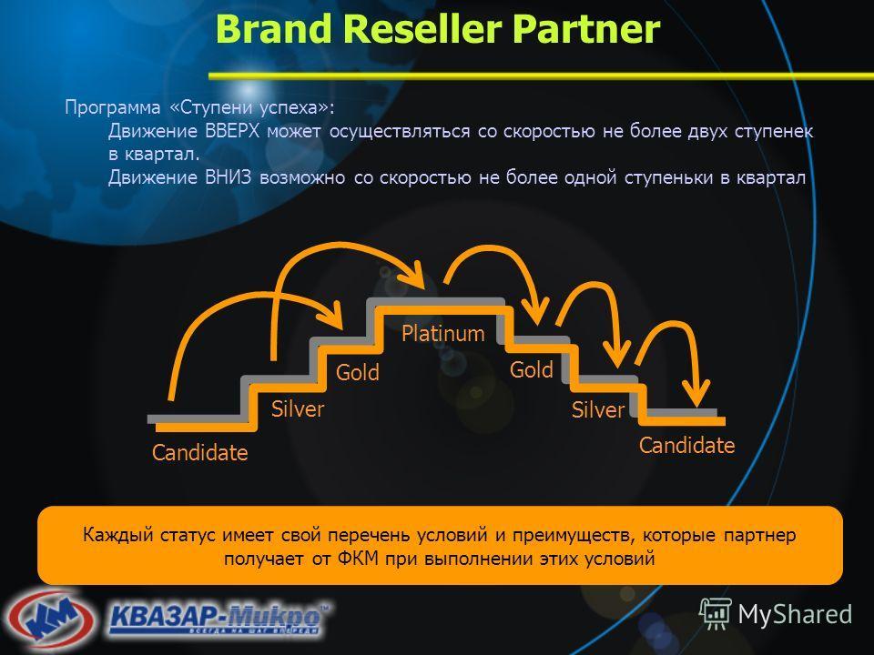 Brand Reseller Partner Программа «Ступени успеха»: Движение ВВЕРХ может осуществляться со скоростью не более двух ступенек в квартал. Движение ВНИЗ возможно со скоростью не более одной ступеньки в квартал Каждый статус имеет свой перечень условий и п
