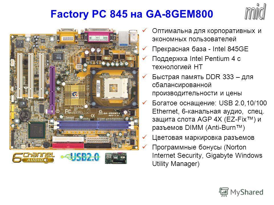 Factory PC 845 на GA-8GEM800 Оптимальна для корпоративных и экономных пользователей Прекрасная база - Intel 845GE Поддержка Intel Pentium 4 с технологией HT Быстрая память DDR 333 – для сбалансированной производительности и цены Богатое оснащение: US