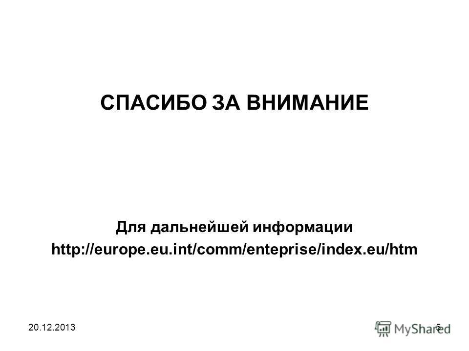 20.12.20135 СПАСИБО ЗА ВНИМАНИЕ Для дальнейшей информации http://europe.eu.int/comm/enteprise/index.eu/htm