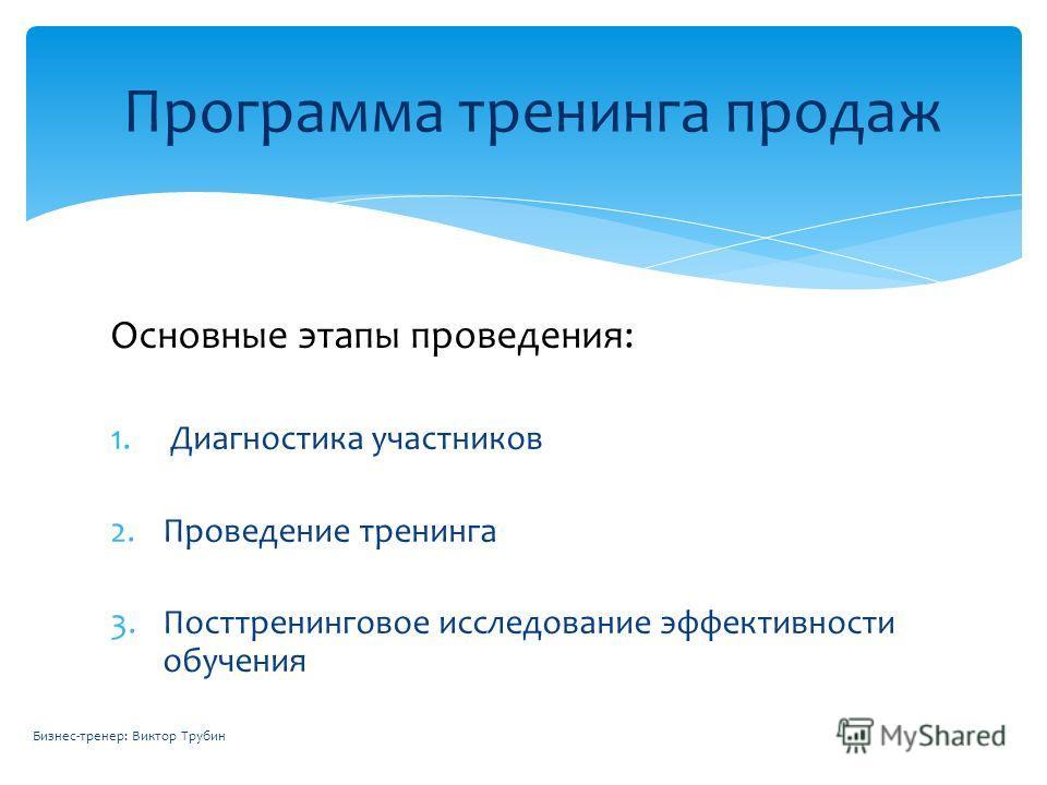 Основные этапы проведения: 1. Диагностика участников 2.Проведение тренинга 3.Посттренинговое исследование эффективности обучения Программа тренинга продаж Бизнес-тренер: Виктор Трубин
