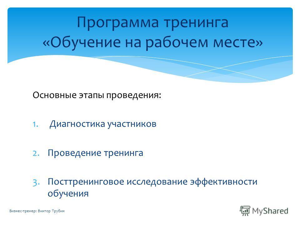 Основные этапы проведения: 1. Диагностика участников 2.Проведение тренинга 3.Посттренинговое исследование эффективности обучения Программа тренинга «Обучение на рабочем месте» Бизнес-тренер: Виктор Трубин