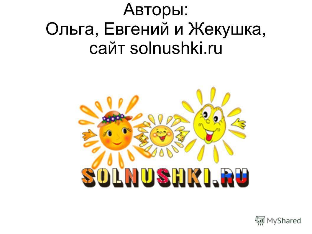 Авторы: Ольга, Евгений и Жекушка, сайт solnushki.ru
