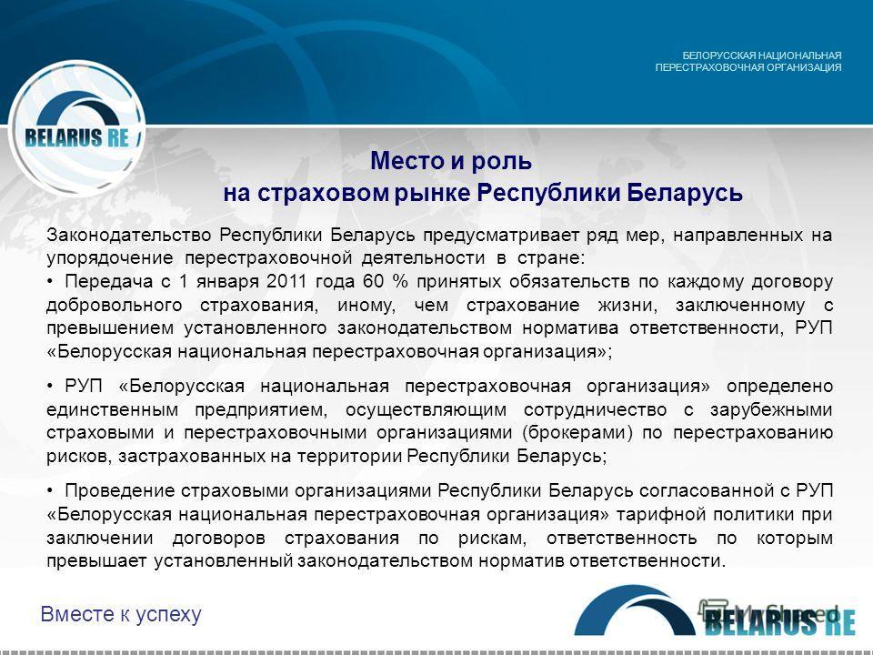 Место и роль на страховом рынке Республики Беларусь БЕЛОРУССКАЯ НАЦИОНАЛЬНАЯ ПЕРЕСТРАХОВОЧНАЯ ОРГАНИЗАЦИЯ Законодательство Республики Беларусь предусматривает ряд мер, направленных на упорядочение перестраховочной деятельности в стране: Передача с 1