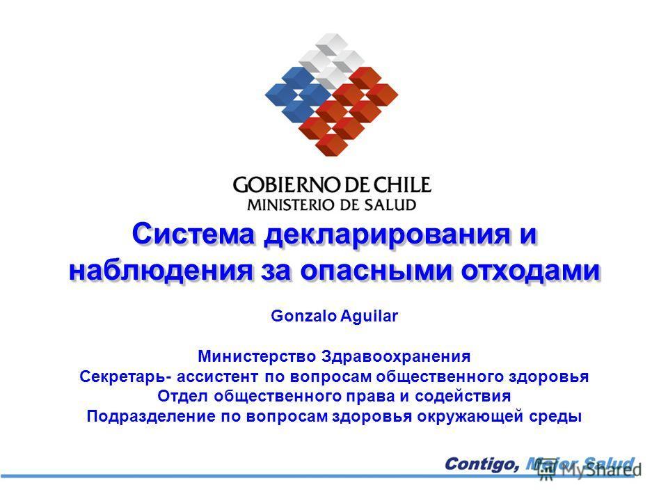 Система декларирования и наблюдения за опасными отходами Gonzalo Aguilar Министерство Здравоохранения Секретарь- ассистент по вопросам общественного здоровья Отдел общественного права и содействия Подразделение по вопросам здоровья окружающей среды