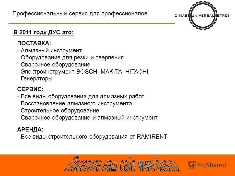 В 2011 году ДУС это: Профессиональный сервис для профессионалов ПОСТАВКА: - Алмазный инструмент - Оборудование для резки и сверления - Сварочное оборудование - Электроинструмент BOSCH, MAKITA, HITACHI - Генераторы СЕРВИС: - Все виды оборудования для