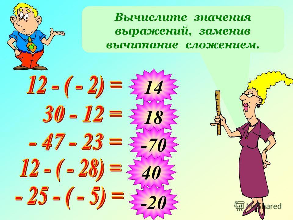 Вычислите значения выражений, заменив вычитание сложением. 14 18 -70 40 -20