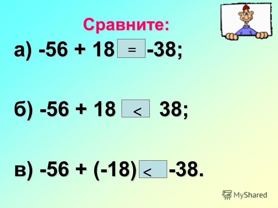 Сравните: а) -56 + 18 * -38; б) -56 + 18 * 38; в) -56 + (-18) * -38. = <