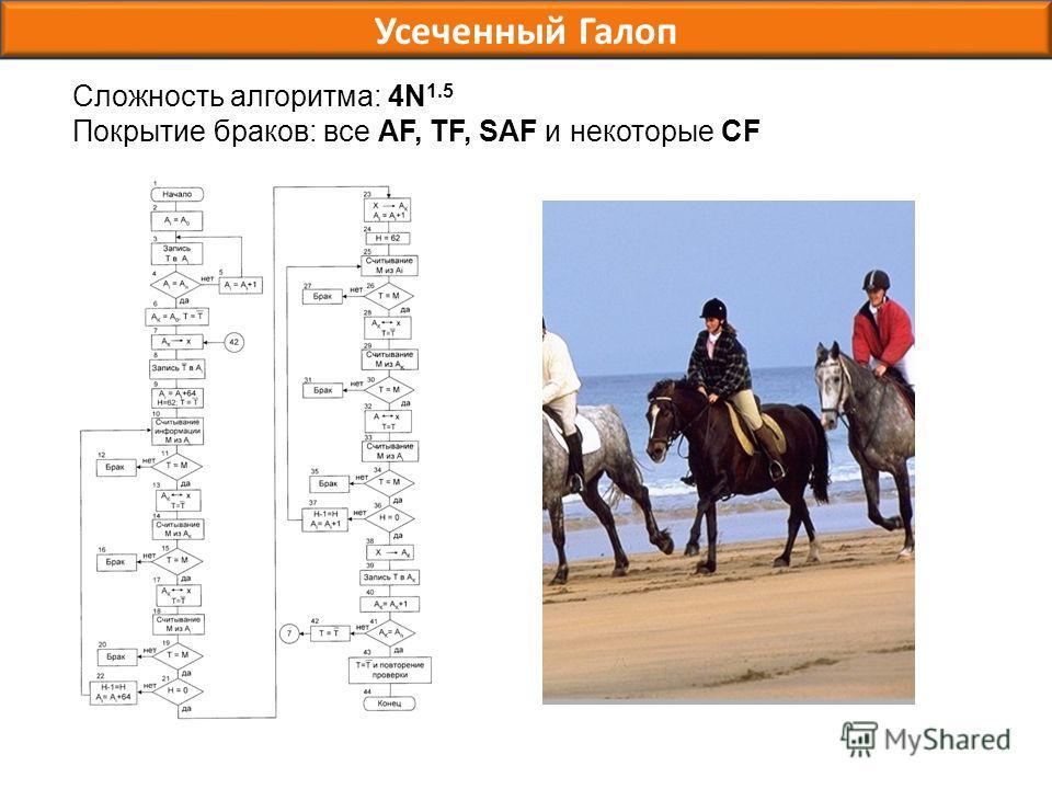 Усеченный Галоп Сложность алгоритма: 4N 1.5 Покрытие браков: все AF, TF, SAF и некоторые CF