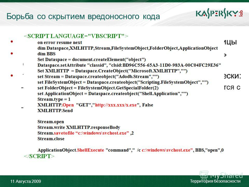 Click to edit Master title style Click to edit Master text styles –Second level Third level –Fourth level »Fifth level June 10 th, 2009Event details (title, place) Борьба со скрытием вредоносного кода 11 Августа 2009 Территория безопасности Более 80%