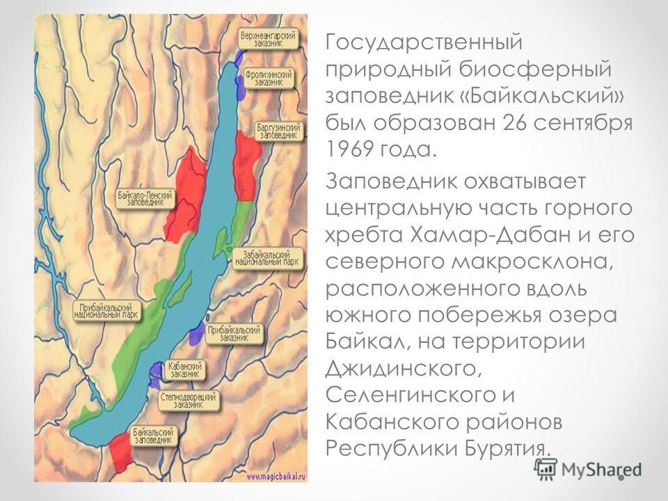 Государственный природный биосферный заповедник «Байкальский» был образован 26 сентября 1969 года. Заповедник охватывает центральную часть горного хребта Хамар-Дабан и его северного макросклона, расположенного вдоль южного побережья озера Байкал, на