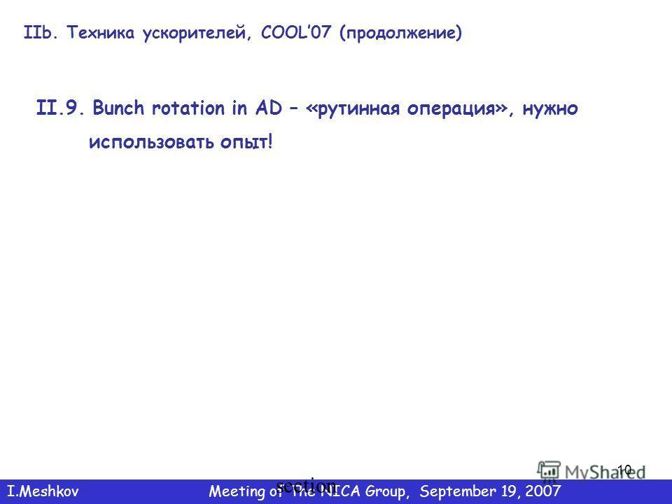 10 IIb. Техника ускорителей, COOL07 (продолжение) I.MeshkovMeeting of The NICA Group, September 19, 2007 section II.9. Bunch rotation in AD – «рутинная операция», нужно использовать опыт!