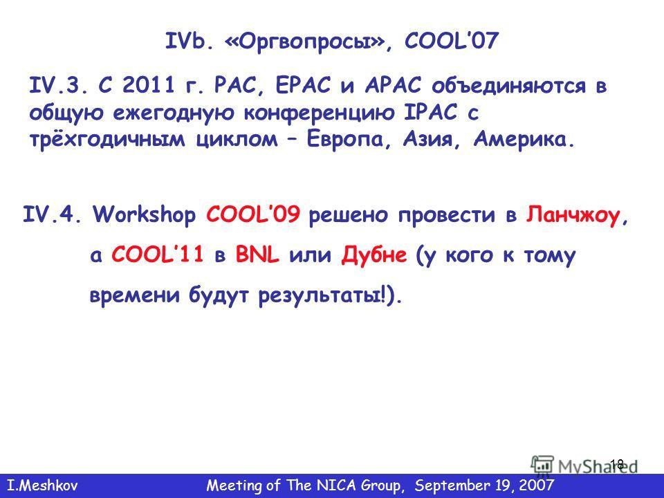 18 IVb. «Оргвопросы», COOL07 IV.3. C 2011 г. PAC, EPAC и APAC объединяются в общую ежегодную конференцию IPAC с трёхгодичным циклом – Европа, Азия, Америка. IV.4. Workshop COOL09 решено провести в Ланчжоу, а COOL11 в BNL или Дубне (у кого к тому врем