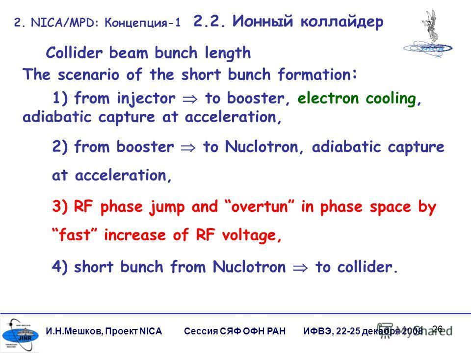 26 И.Н.Мешков, Проект NICA Сессия СЯФ ОФН РАН ИФВЭ, 22-25 декабря 2008 2. NICA/MPD: Концепция-1 2.2. Ионный коллайдер 2) from booster to Nuclotron, adiabatic capture at acceleration, 3) RF phase jump and overtun in phase space by fast increase of RF