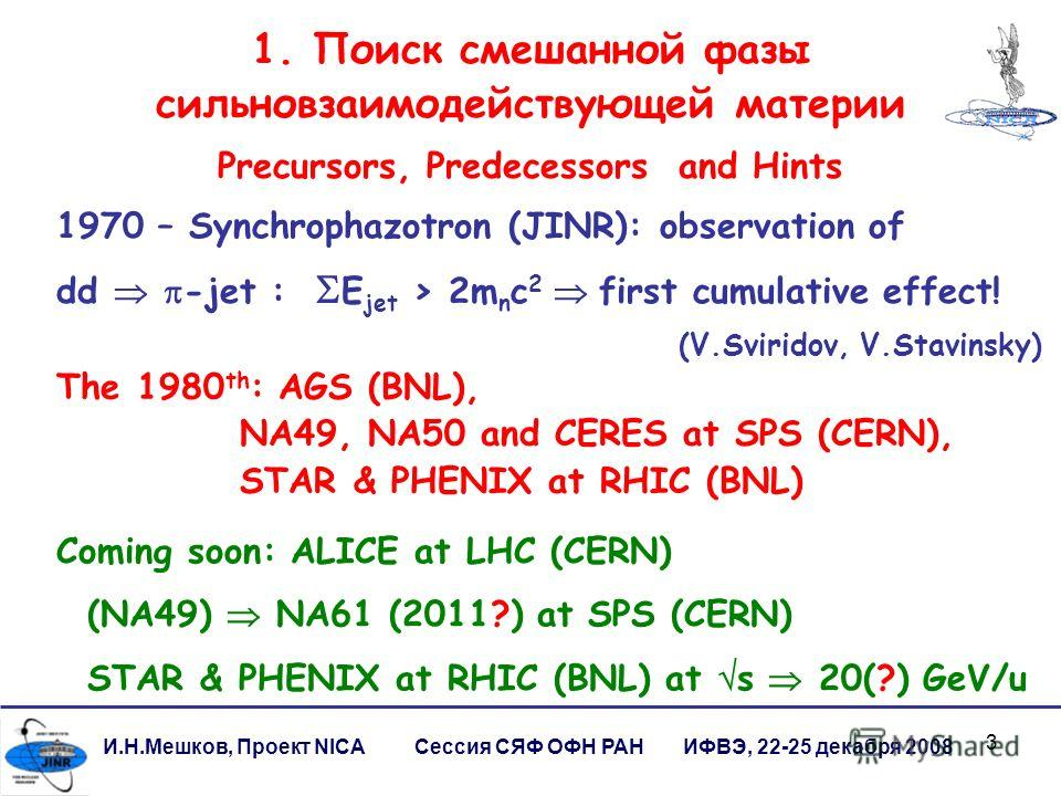3 1. Поиск смешанной фазы сильновзаимодействующей материи И.Н.Мешков, Проект NICA Сессия СЯФ ОФН РАН ИФВЭ, 22-25 декабря 2008 The 1980 th : AGS (BNL), NA49, NA50 and CERES at SPS (CERN), STAR & PHENIX at RHIC (BNL) Coming soon: ALICE at LHC (CERN) (N