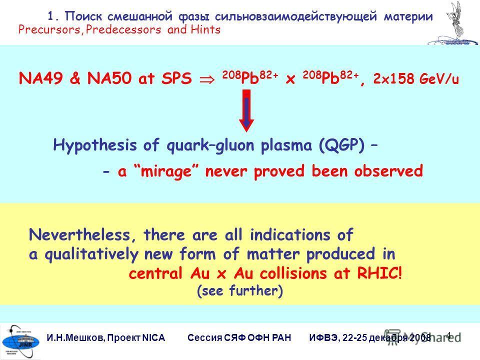 4 И.Н.Мешков, Проект NICA Сессия СЯФ ОФН РАН ИФВЭ, 22-25 декабря 2008 1. Поиск смешанной фазы сильновзаимодействующей материи NA49 & NA50 at SPS 208 Pb 82+ x 208 Pb 82+, 2x158 GeV/u Hypothesis of quark–gluon plasma (QGP) – - a mirage never proved bee