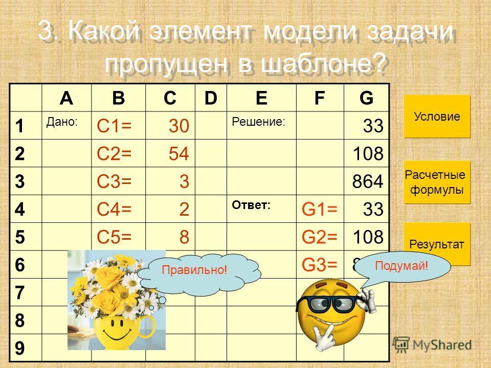3. Какой элемент модели задачи пропущен в шаблоне? ABCDEFG 1 Дано: С1=30 Решение: 33 2С2=54108 3С3=3864 4С4=2 Ответ: G1=33 5С5=8G2=108 6G3=864 7 8 9 Условие Расчетные формулы Результат Правильно! Подумай!