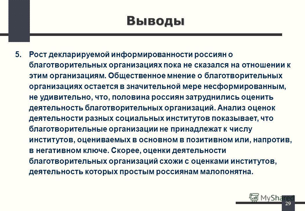 29 Выводы 5.Рост декларируемой информированности россиян о благотворительных организациях пока не сказался на отношении к этим организациям. Общественное мнение о благотворительных организациях остается в значительной мере несформированным, не удивит