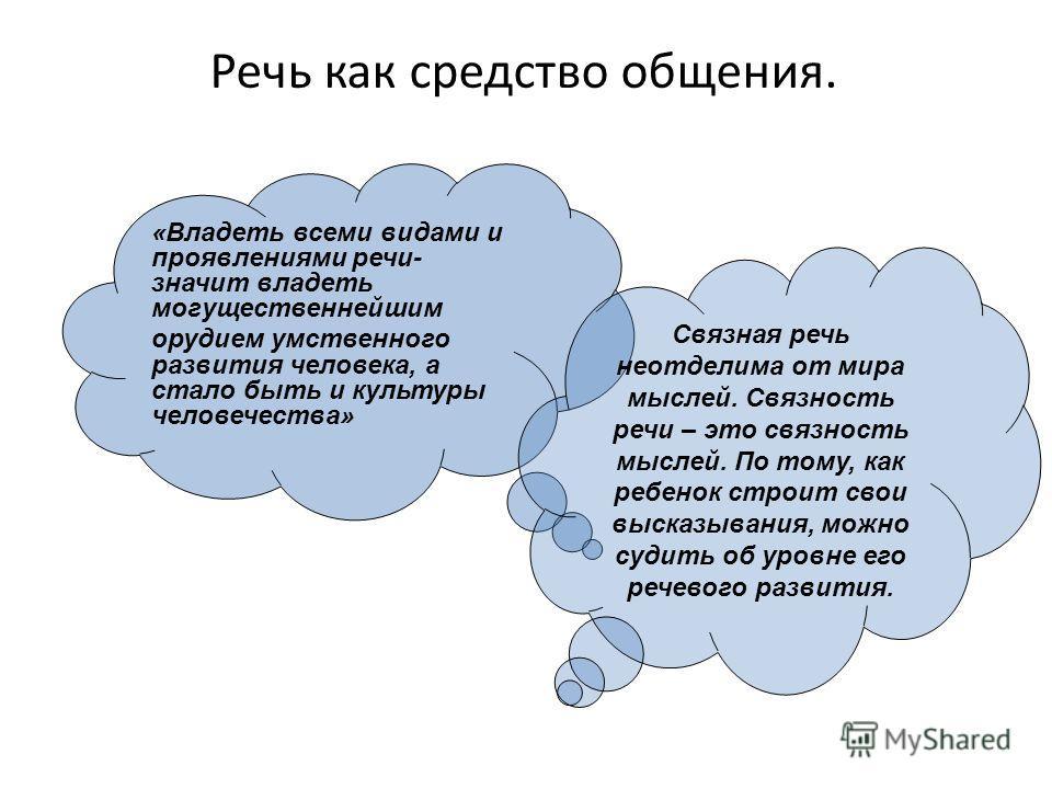 Речь как средство общения. «Владеть всеми видами и проявлениями речи- значит владеть могущественнейшим орудием умственного развития человека, а стало быть и культуры человечества» Связная речь неотделима от мира мыслей. Связность речи – это связность