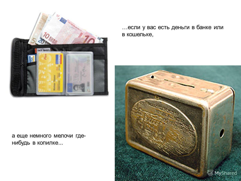 …если у вас есть деньги в банке или в кошельке, а еще немного мелочи где- нибудь в копилке...