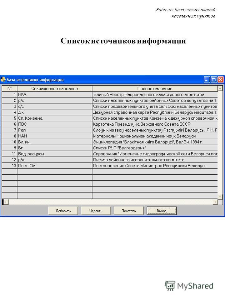 Список источников информации Список источников информации Рабочая база наименований населенных пунктов