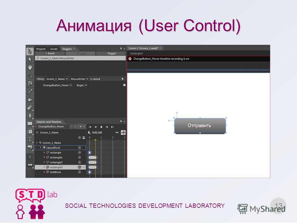 Анимация (User Control) 13 SOCIAL TECHNOLOGIES DEVELOPMENT LABORATORY