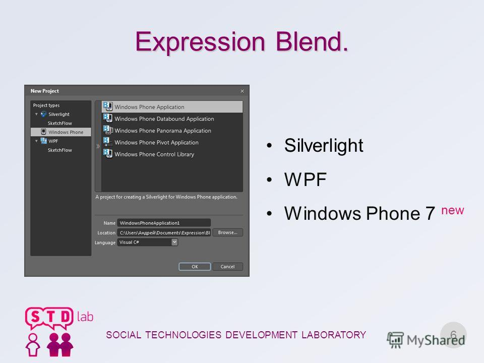 Expression Blend. 6 Silverlight WPF Windows Phone 7 new SOCIAL TECHNOLOGIES DEVELOPMENT LABORATORY