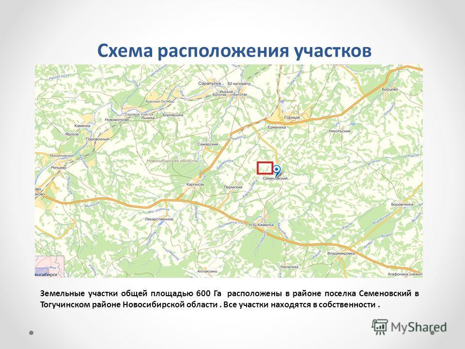 Схема расположения участков Земельные участки общей площадью 600 Га расположены в районе поселка Семеновский в Тогучинском районе Новосибирской области. Все участки находятся в собственности.